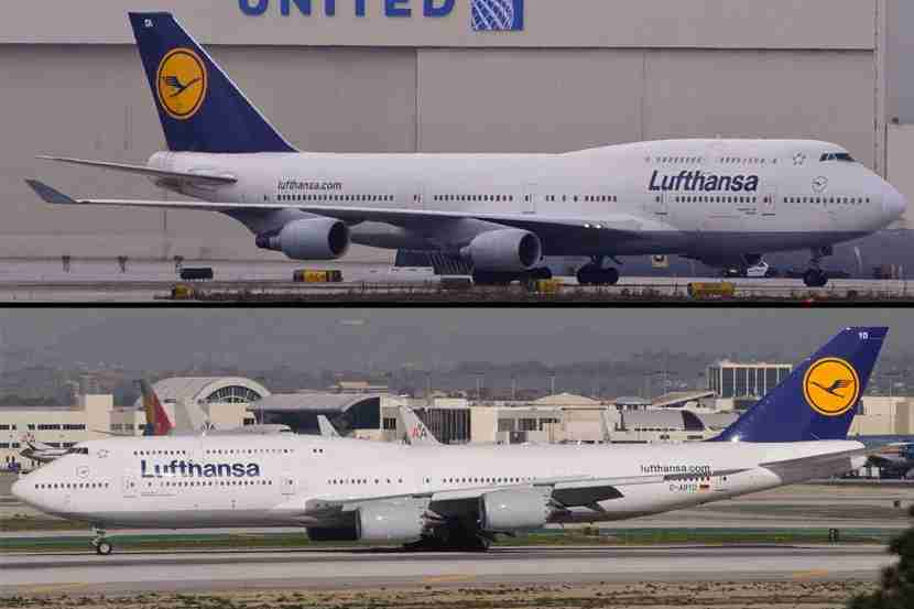 """The 747-400 (top) has traditional engine cowling, winglets and 18 windows on the top deck, while the 747-8I has modern engine cowling, sweeping wings and 22 windows on the top deck. Both photos (<a href=""""https://www.flickr.com/photos/skinnylawyer/8014614215/in/photolist-dJr81K-dJ8FV9-dw1nX6-dw6VGN-dddZzH-dddZDR-dPiUmD"""" target=""""_blank"""">747-400</a> and <a href=""""https://www.flickr.com/photos/skinnylawyer/8353074110/in/photolist-dJr81K-dJ8FV9-dw1nX6-dw6VGN-dddZzH-dddZDR-dPiUmD"""" target=""""_blank"""">747-8I</a>) courtesy of skinnylawyer via Flickr."""