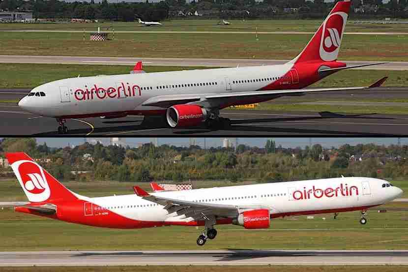"""The Airbus A330-200 (top) and A330-300 variations can be determined by the distance between the two forward emergency exits. Airbus A330-200 image courtesy larssteffens via <a href=""""https://www.flickr.com/photos/larssteffens/9347138668/in/photolist-feYwFf-feYvpN-JCtxxu-JwuEQq-fTiqXB-fTi3z1-gyyDx2-fvXywx-m3KerB-fwcha5-nmY8x5-gyydh5-gyxDqS-fwc7F9-gyy4PU-quStn3-iKXWmp-jbUzvz-HKXD9Y-JGbxKc-HKXv5a-gyxGof-bfvHPP-p98PPW-Hz3S2B-gyy8xp-ryZnhh-gyy8cf-gyxvSf-dk3smp-jbMEvs-6ECVv6-pYXh7n-svXXZz-scEJCx-gyy9pL-937nL1-937sXw-gyytnc-cNmZ4s-sDBpHY-p98kKQ-e2eqNj-gyyaUZ-gyxGi5-gyy3z9-9Ey1T3-oSBSmF-av1aji-8WN64k"""" target=""""_blank"""">Flickr</a>; Airbus A330-300 image courtesy aero_icarus via <a href=""""https://www.flickr.com/photos/aero_icarus/4329670430/in/photolist-ddFxaB-7AAGbb-7Axyui-h7m5Cu-h7kWLB-ddFAU6-aeq8NZ-aeq7QR"""" target=""""_blank"""">Flickr</a>."""