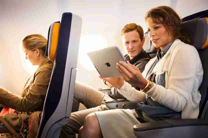 By converting to a wireless in-flight entertainment system, Lufthansa Group was able to reduce both maintenance and fuel costs. Image courtesy of Lufthansa Group.