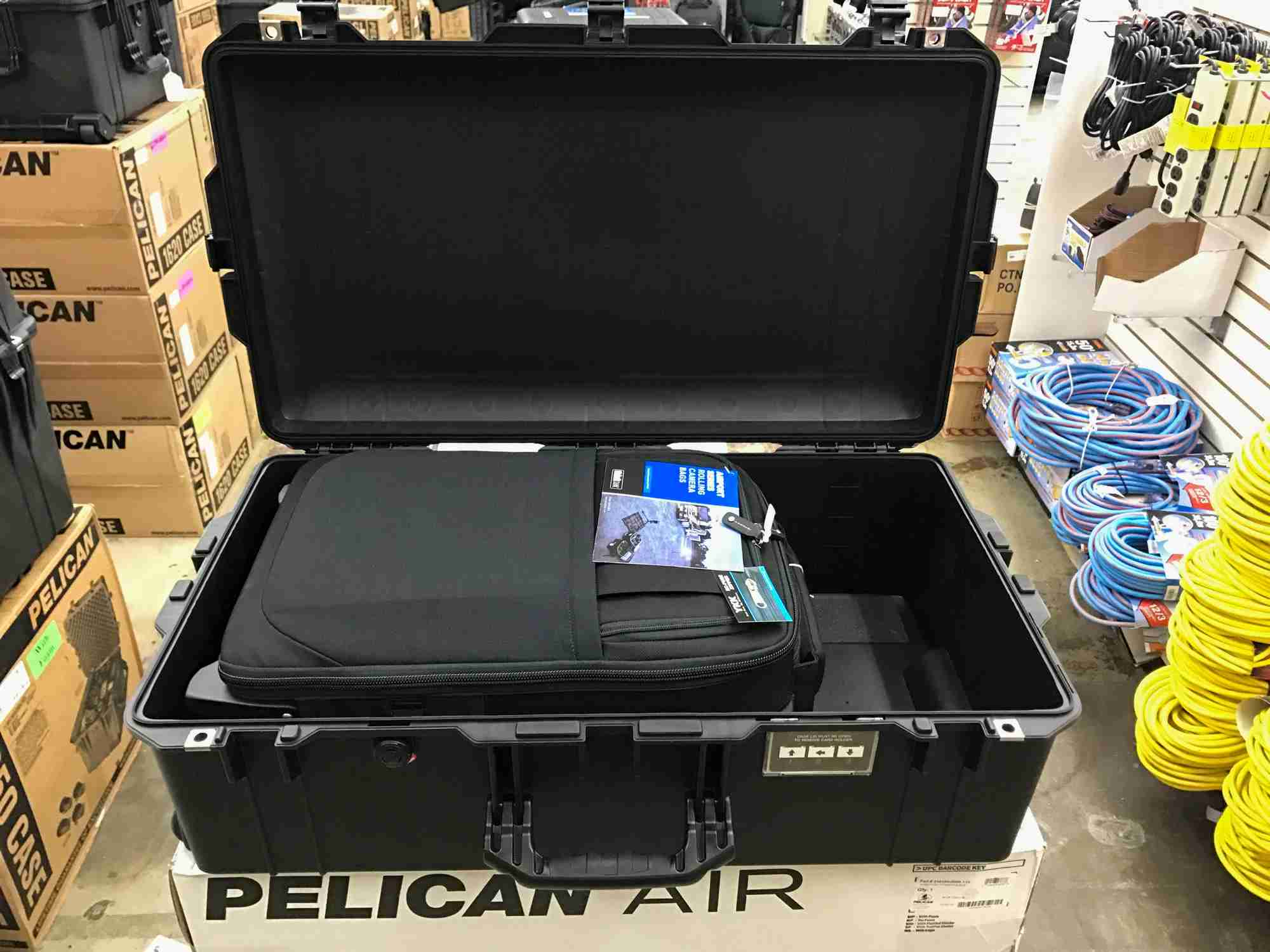 The carry-on-compliant Think Tank Photo Airport International 3.0 roller inside of a Pelican Air 1615 case, which must be checked. The Air case design is significantly lighter, which means more gear can be checked. Image courtesy of the author.