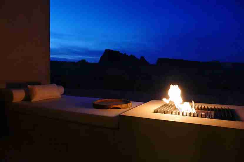 The fire pit is a great place to sit and while away the time, but it adds ambience rather than physical warmth.