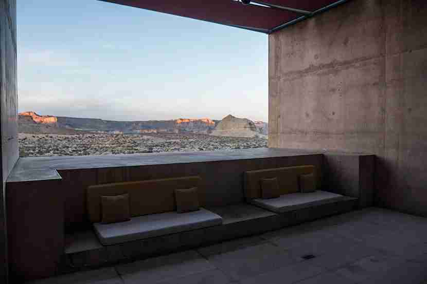 The outdoor lobby frames the landscape impeccably.