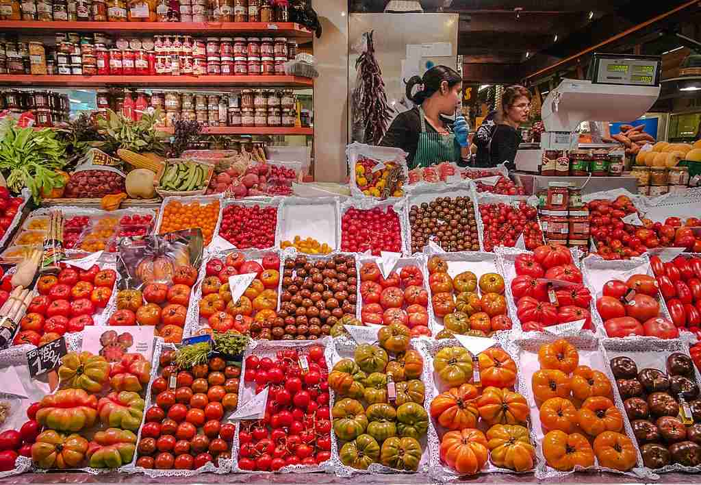 The colors are vibrant at the Santa Caterina market in Barcelona, Spain. Image courtesy of Francisco Calvino via Getty Images.