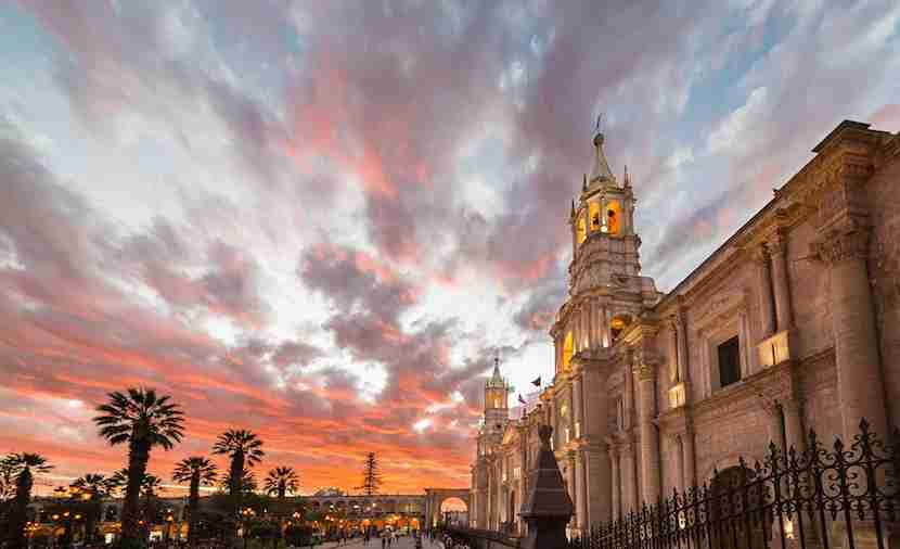 The town of Arequipa is UNESCO-listed for its distinctive white volcanic stone architecture. Image courtesy of Getty Images.
