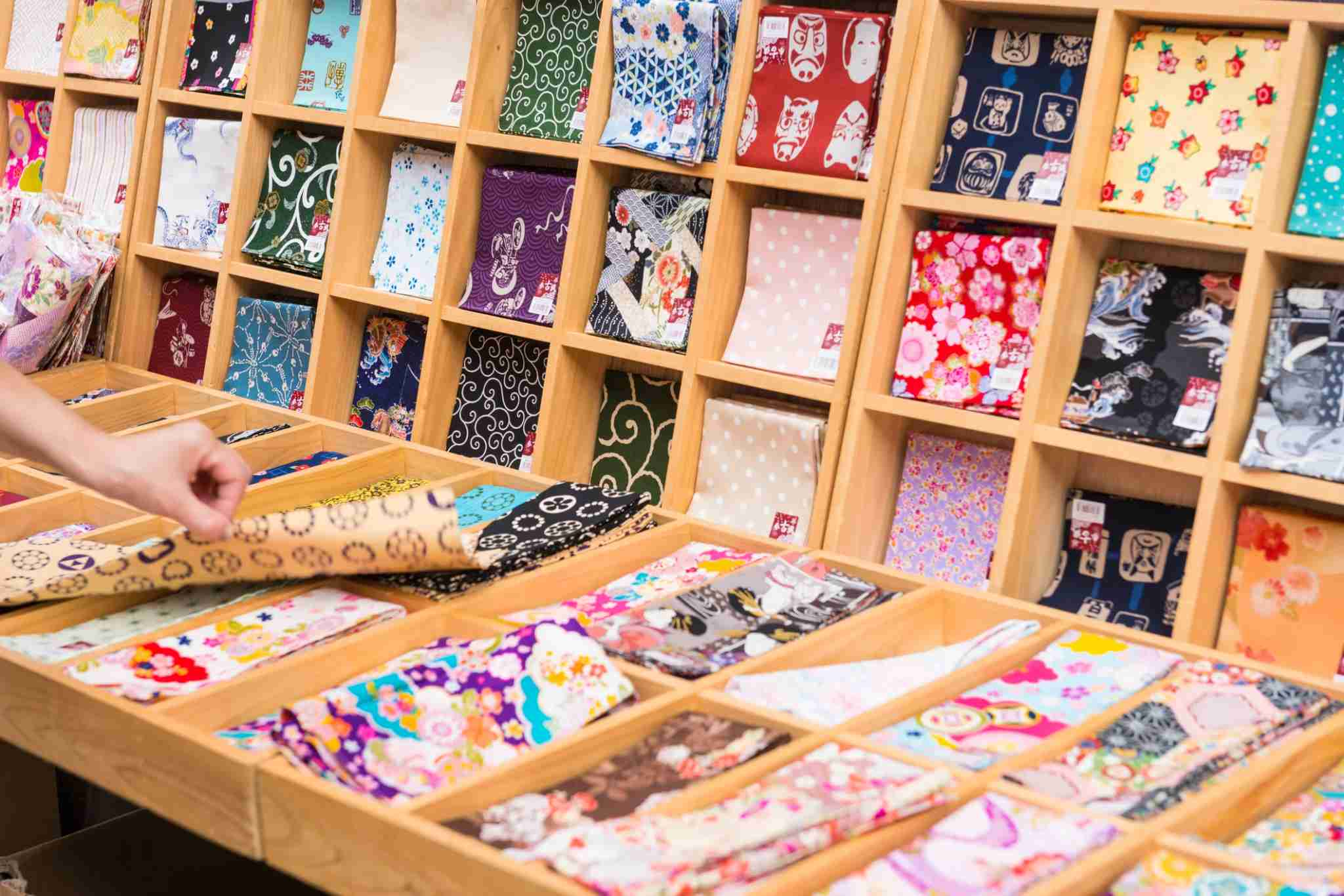 Fabric is an art form in Japan, as is evidenced by the attention paid to making and buying <em>tenugui</em>, an all-purpose printed towel or cloth square. Image courtesy of helovi via Getty Images.