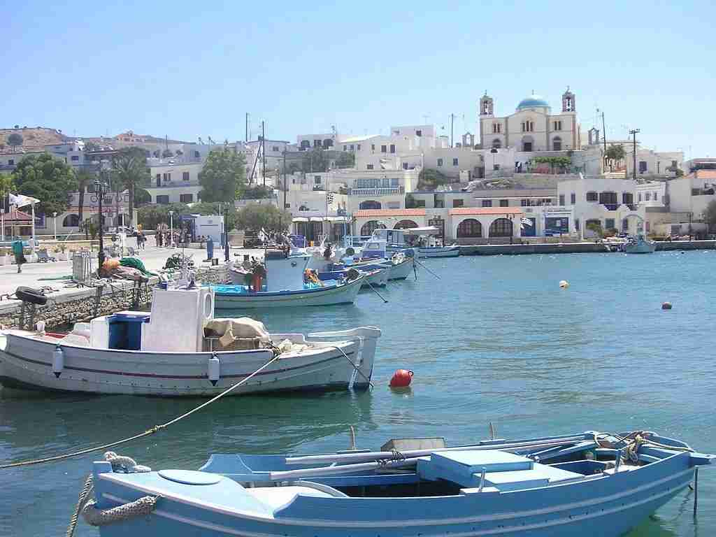 The harbour at Lipsi. Image courtesy of KF via Wikimedia Commons.