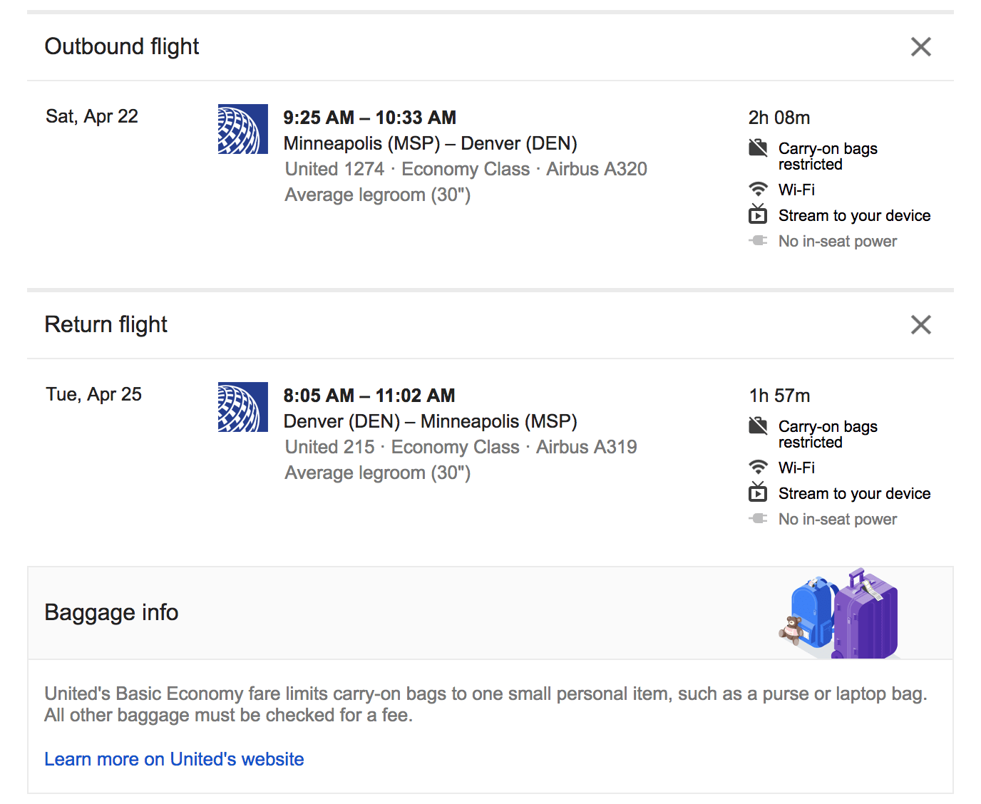 google flights tells you the baggage rules on some tickets