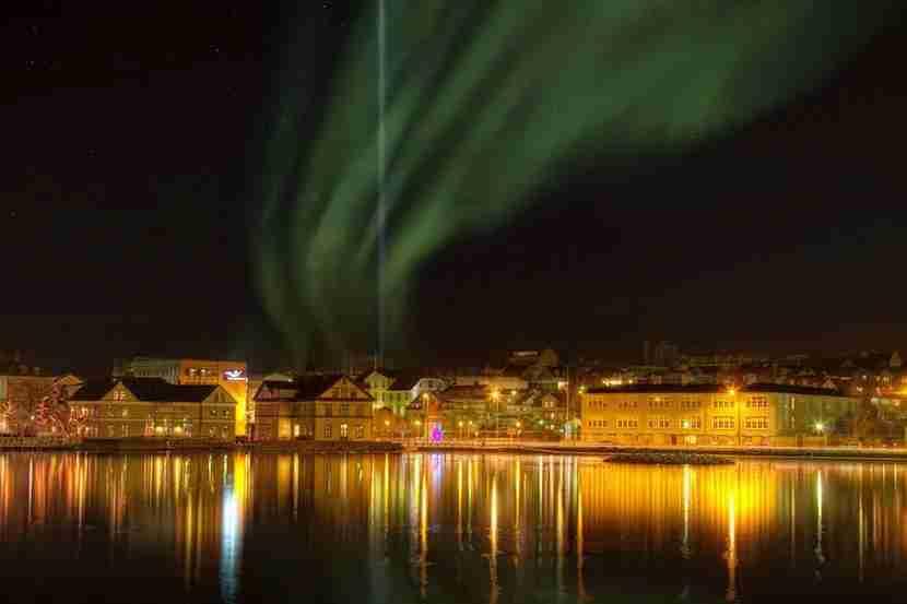 In Reykjavík, you can see the auroras dancing above the city. Image courtesy of Visit Reykjavík
