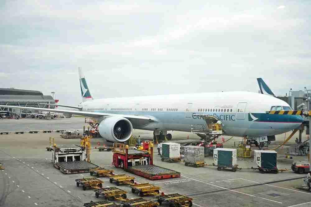 The Cathay aircraft just after landing in Hong Kong.