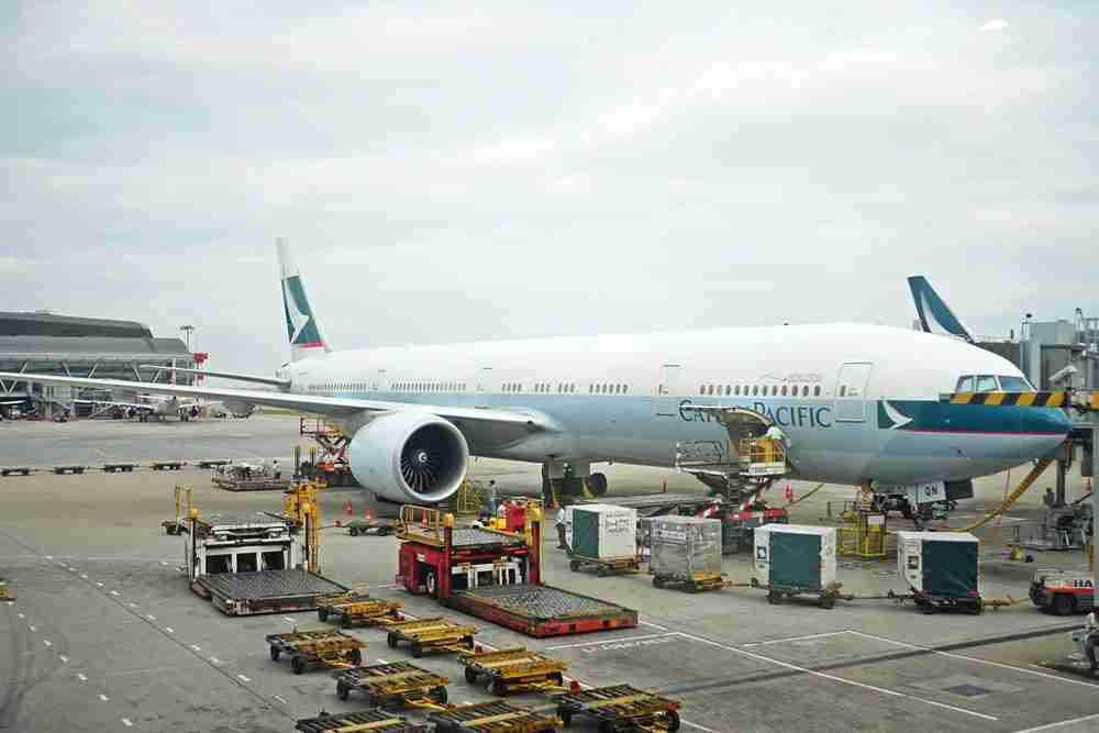 The Cathay aircraft just after landing in Hong Kong.