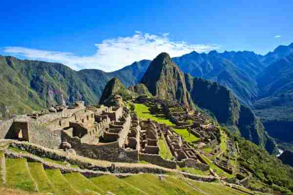 Machu Picchu is a 15th century Inca site located 2,430 metres above sea level on a mountain ridge above the Urubamba Valley. Machu Picchu was declared a Peruvian Historical Sanctuary. Kelly Cheng Travel Photography via Getty Images.
