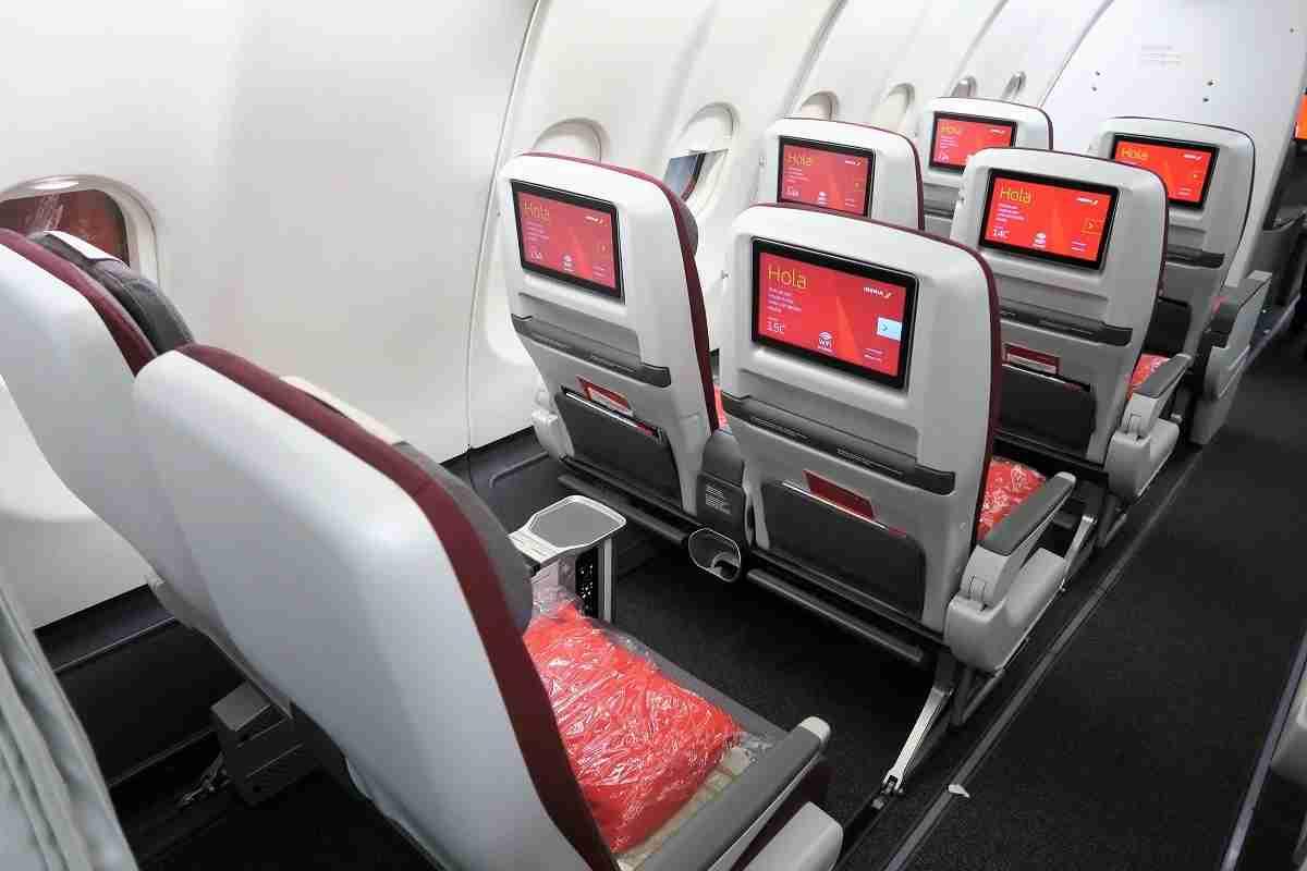 Iberia A340-600 Premium Economy back row