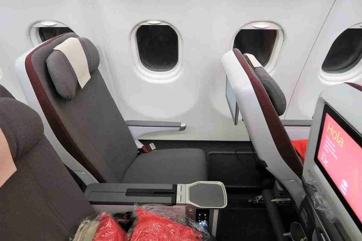 Iberia A340-600 Premium Economy seat reclined and IFE screen tilted