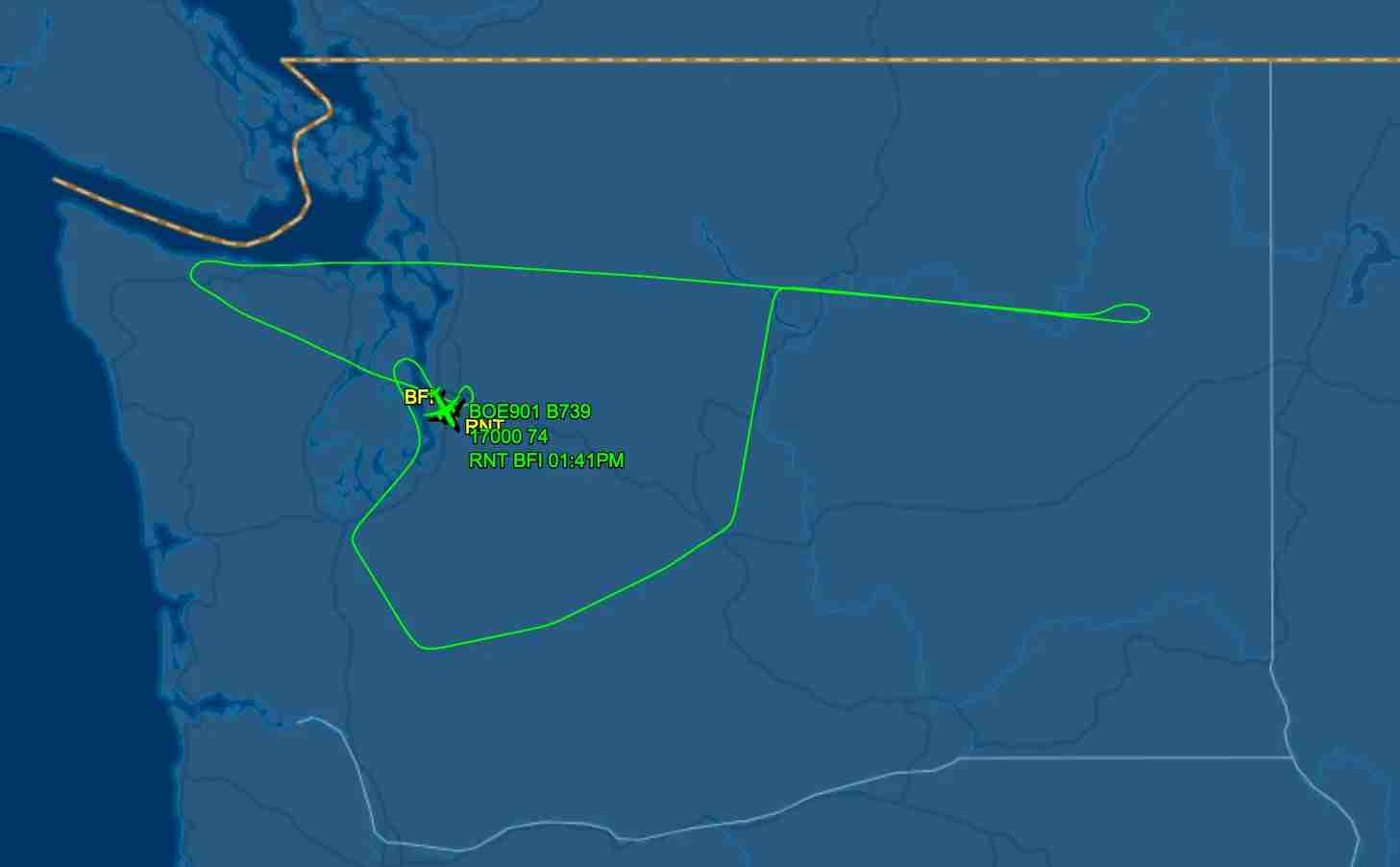 Route of the maiden 737 MAX-9 first flight, via FlightAware.com