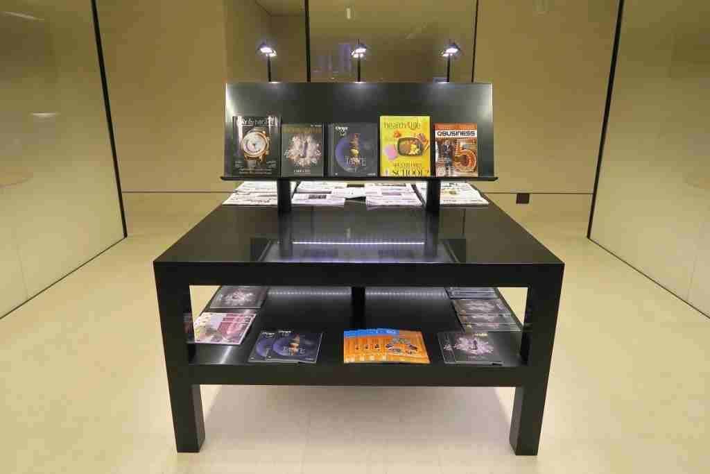 Qatar First Class lounge reading materials