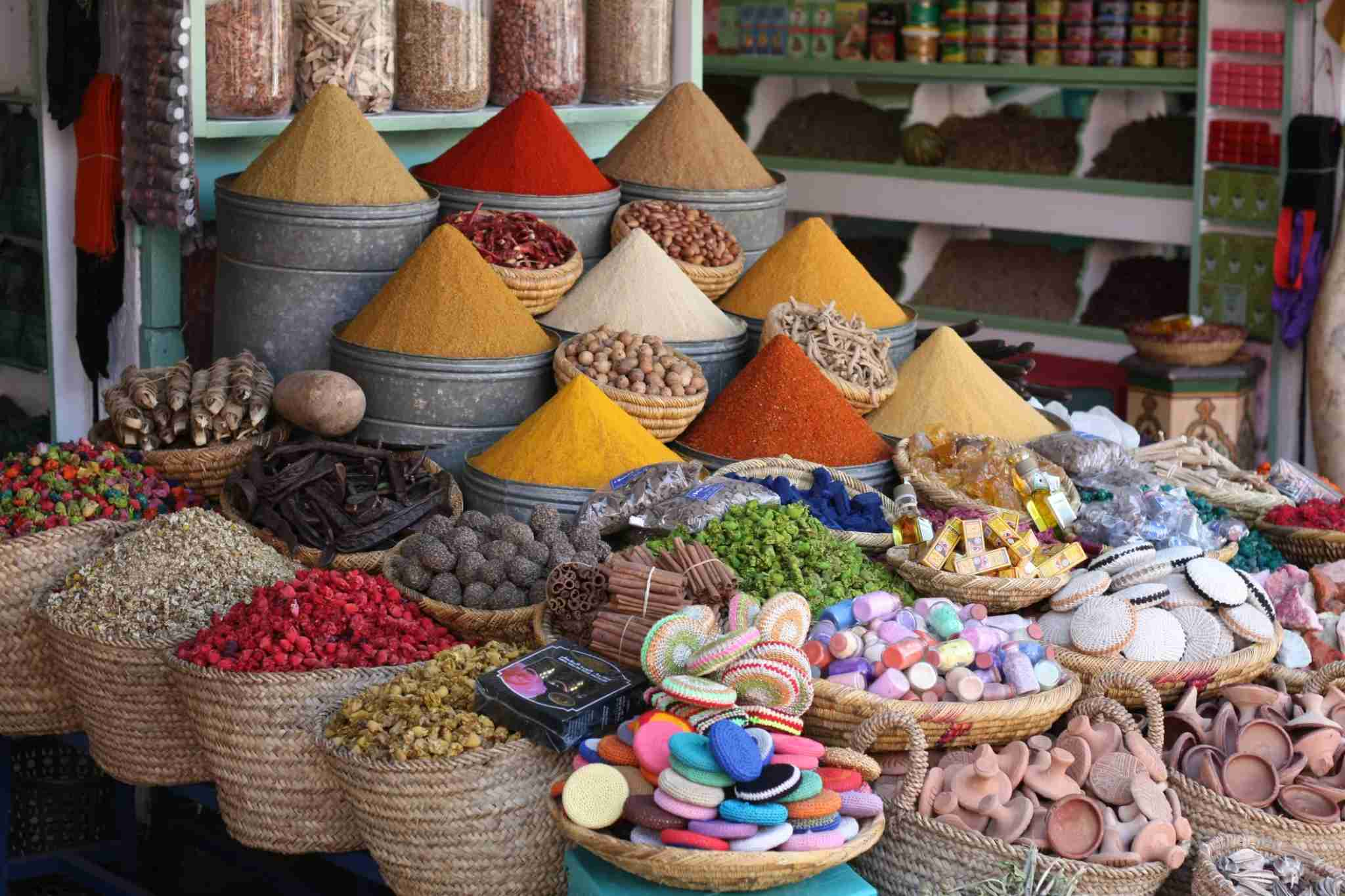 The towers of spices are beautiful, but your best bet is to buy them in the Berber pharmacies. Image courtesy of Gloria Hinter / EyeEm via Getty Images.