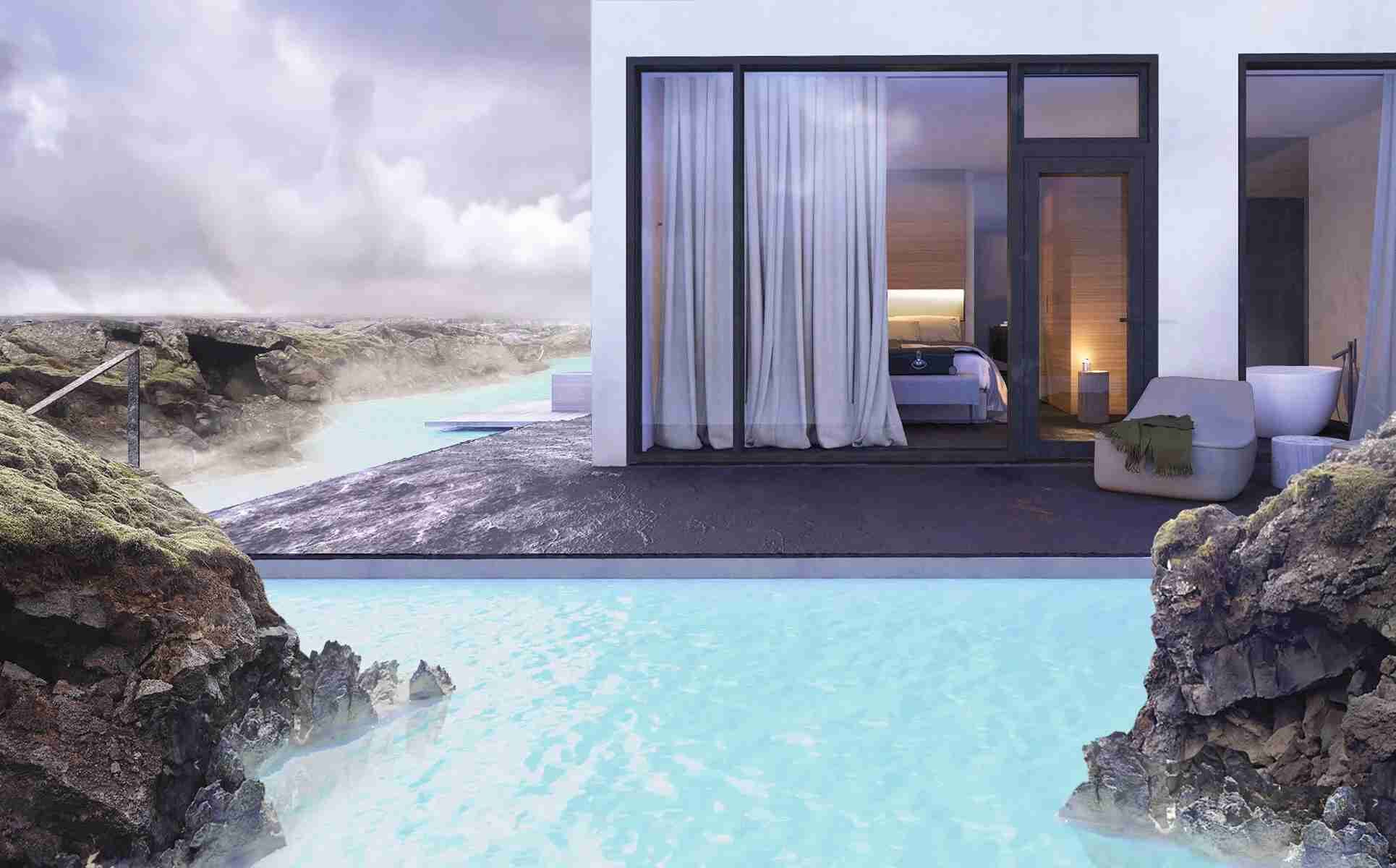 Some guest rooms have terraces that are built directly on top of the geothermal waters. Image courtesy of the hotel.