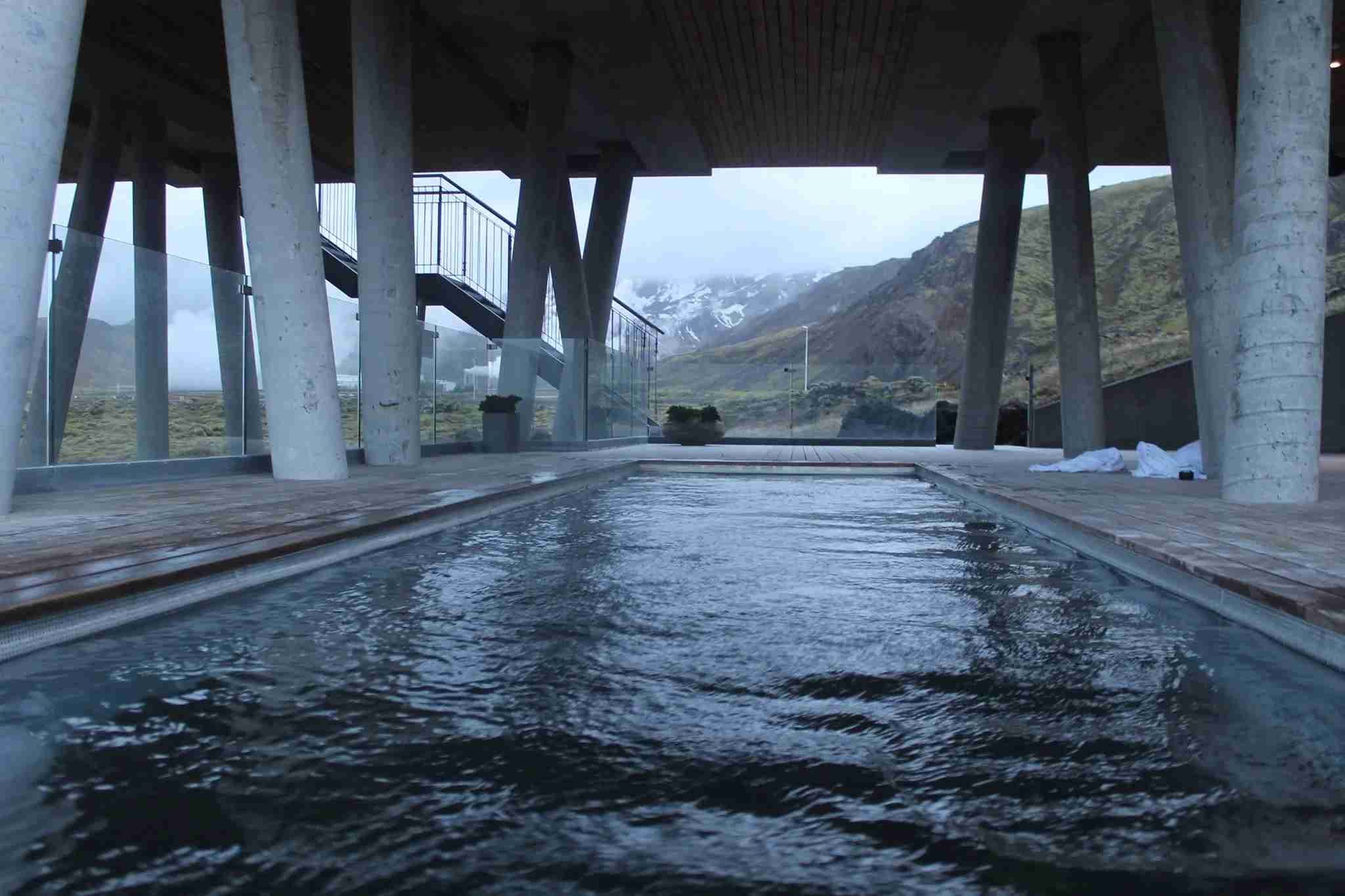 The geothermal pool at The Ion featured incredible views of nearby mountains and a geothermal power plant.