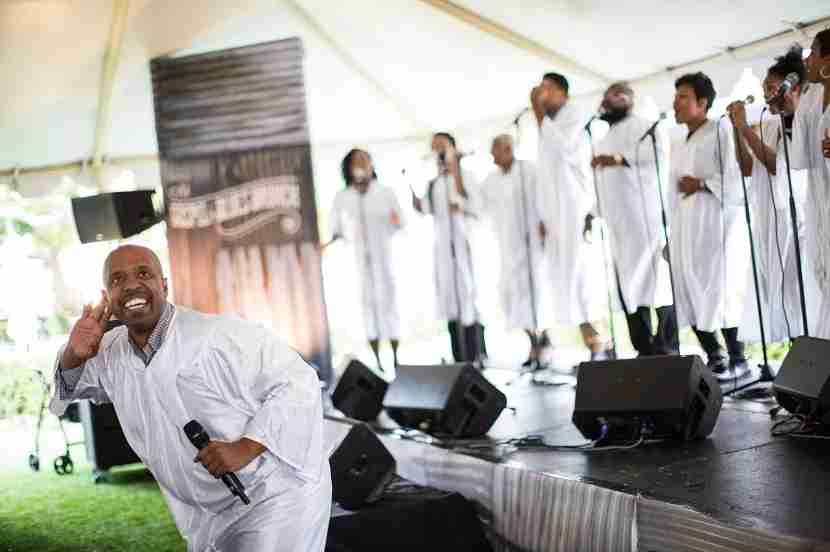 Gregory Jones & The Ministry Singers encouraged the crowd to get involved. Image courtesy of The Grove.