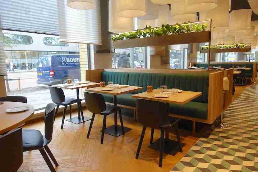 The lobby decor scheme continued into the restaurant.