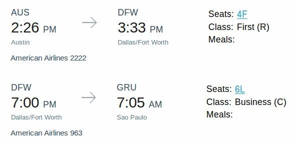 Review American (787-9) Business Class, Dallas to São Paulo