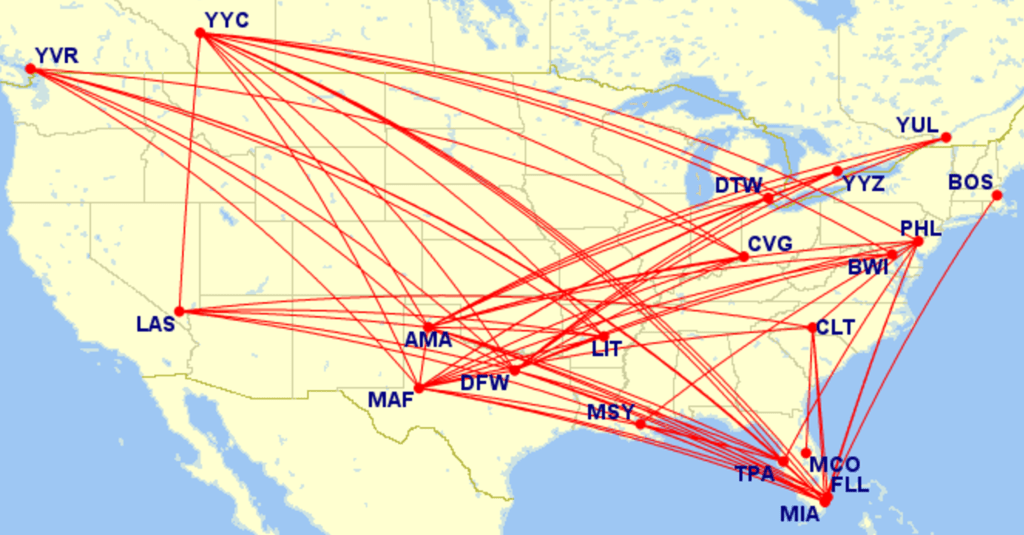 List of origin/destination pairings with basic economy fares. Note that American Airlines doesn