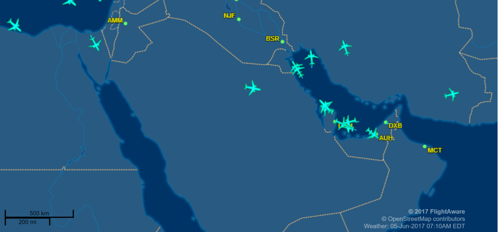 Flights Between Major Middle East Countries Suspended - Map of qatar and egypt