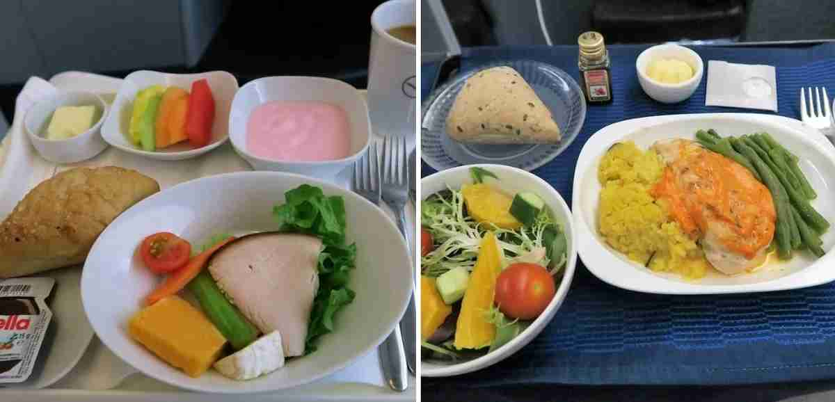 Lufthansa (left) had a basic breakfast for the redeye second meal and United (right) had a full second lunch service for the daytime flight.