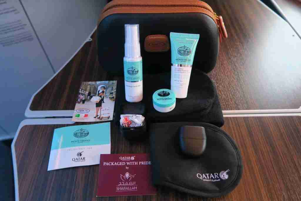 Qatar A350 amenity kit contents