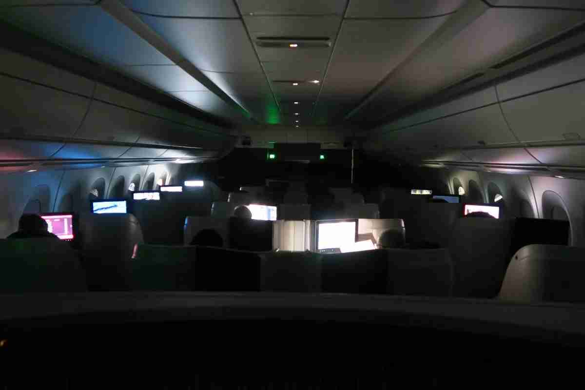 Qatar A350 business class dark cabin