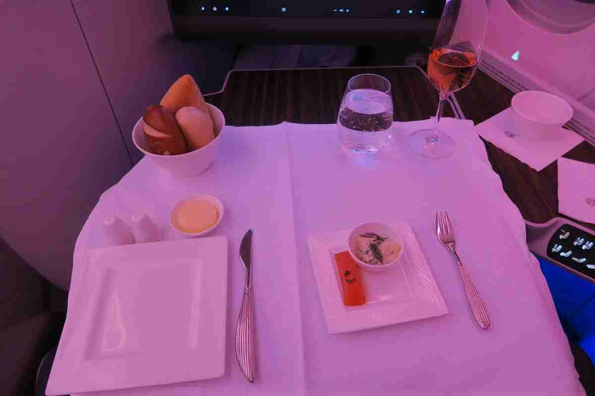 Qatar A350 business smoked salmon