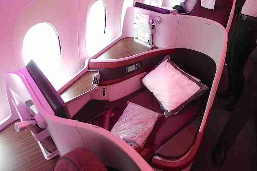 Qatar A350 seat reclined 1