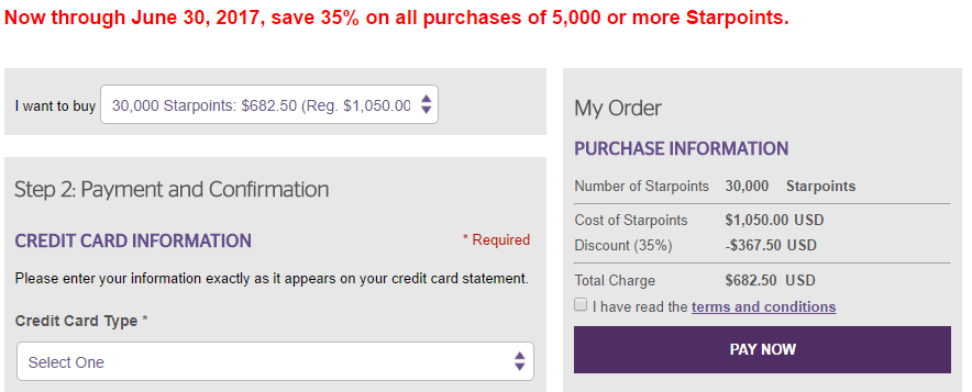 Buy Spg Starpoints For 2 28 Cents Each With 35 Off Promo