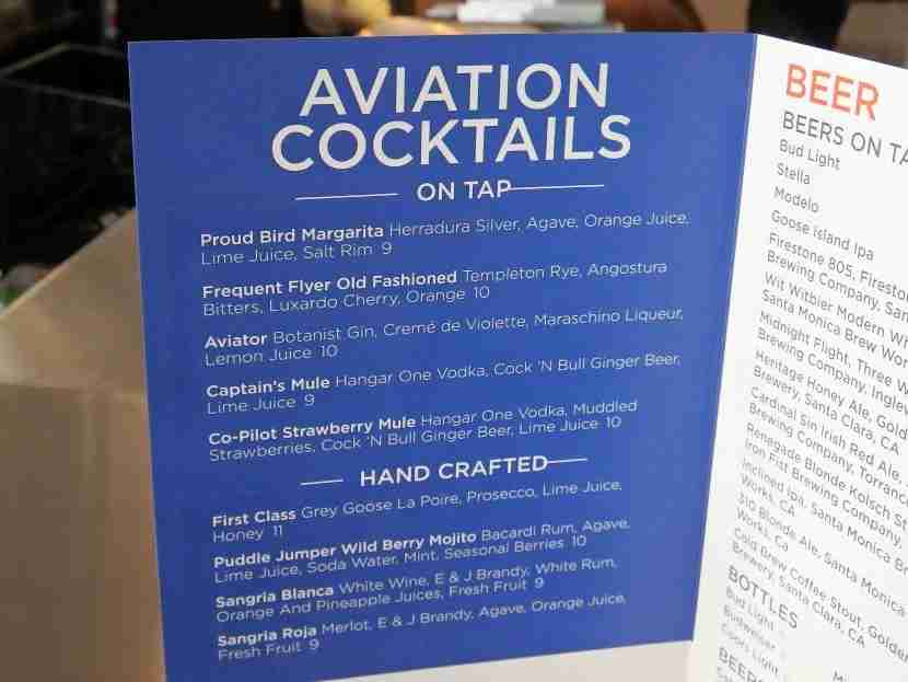 Cocktails are on tap and crafted, many in the aviation theme.