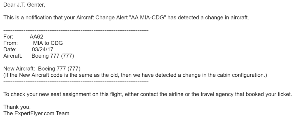 ExpertFlyer Aircraft Change Alert