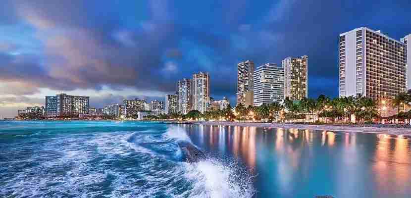 Waves surge towards Waikiki