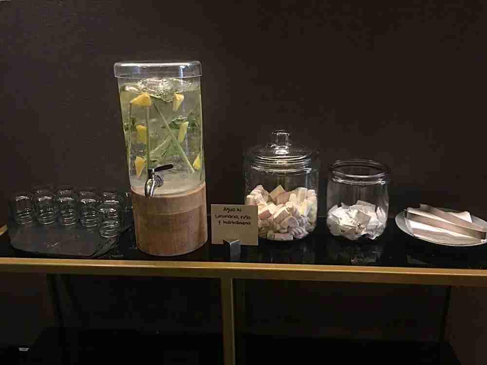 Lobby drinks and snacks.