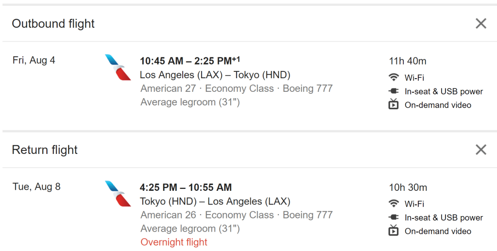 google flights search example data