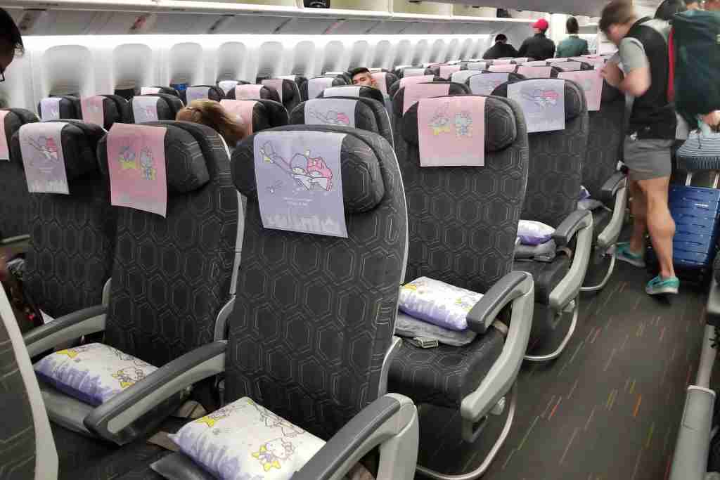 Hello Kitty pillows and headrests awaited each passenger.