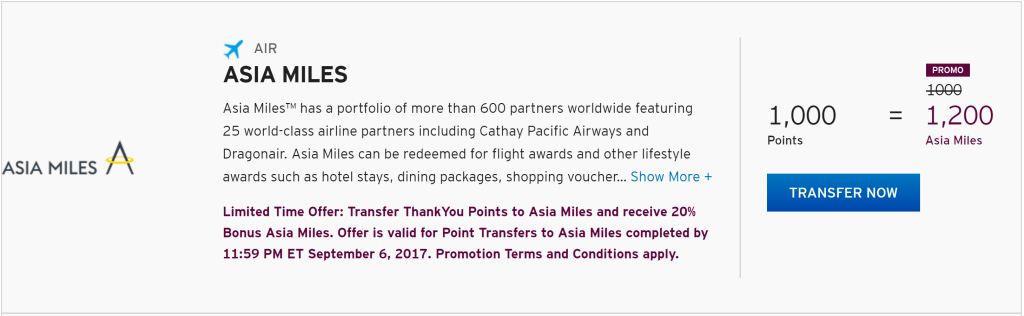 Citi ThankYou Points Asia Miles transfer bonus