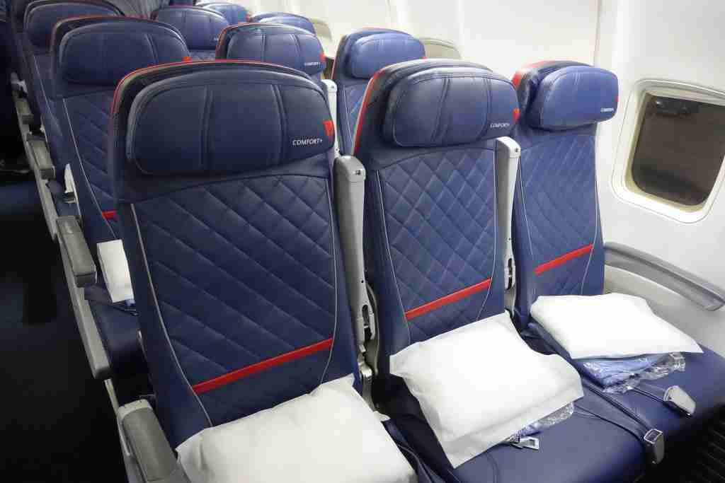 Delta Comfort+ seats onboard one of Delta