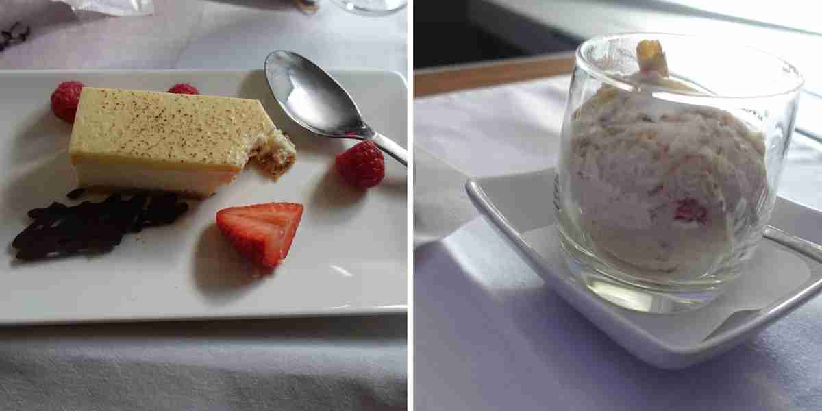 Both cheesecake-based desserts — in cake form on British Airways (left) and ice cream form on American (right) — were delicious.