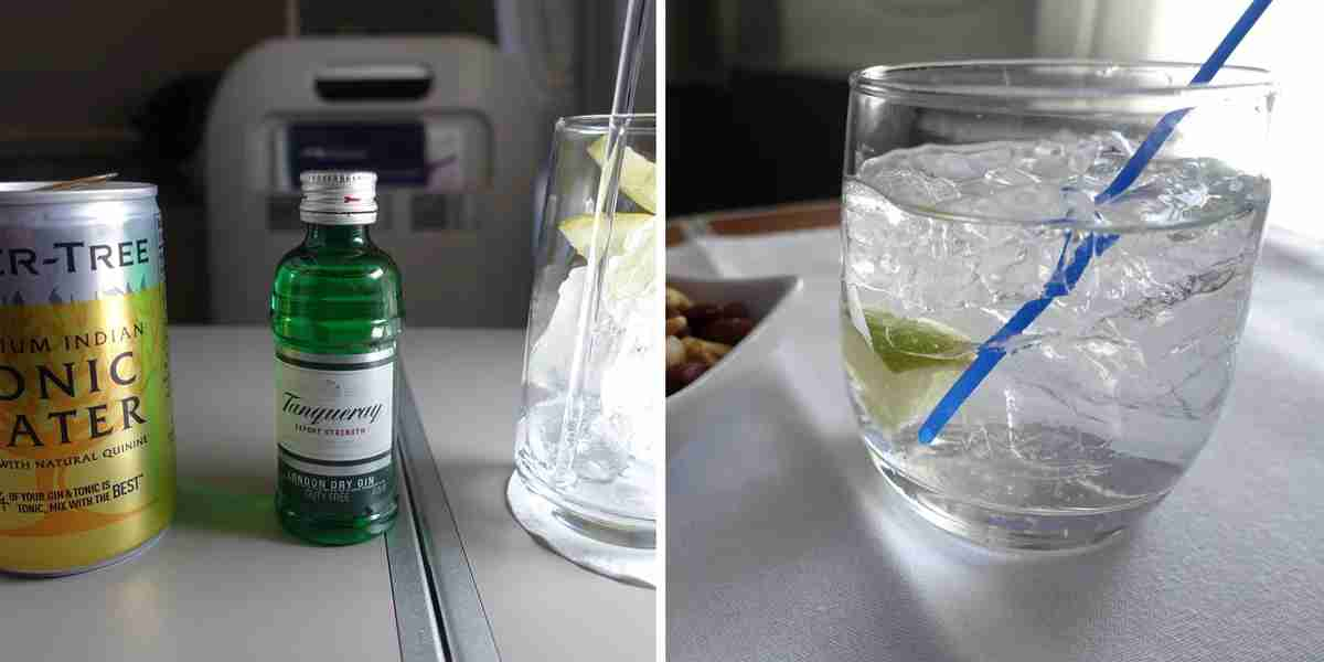 I received a bottle of gin, a can of tonic and a glass on BA (left) but got an actual mixed gin and tonic on AA (right).