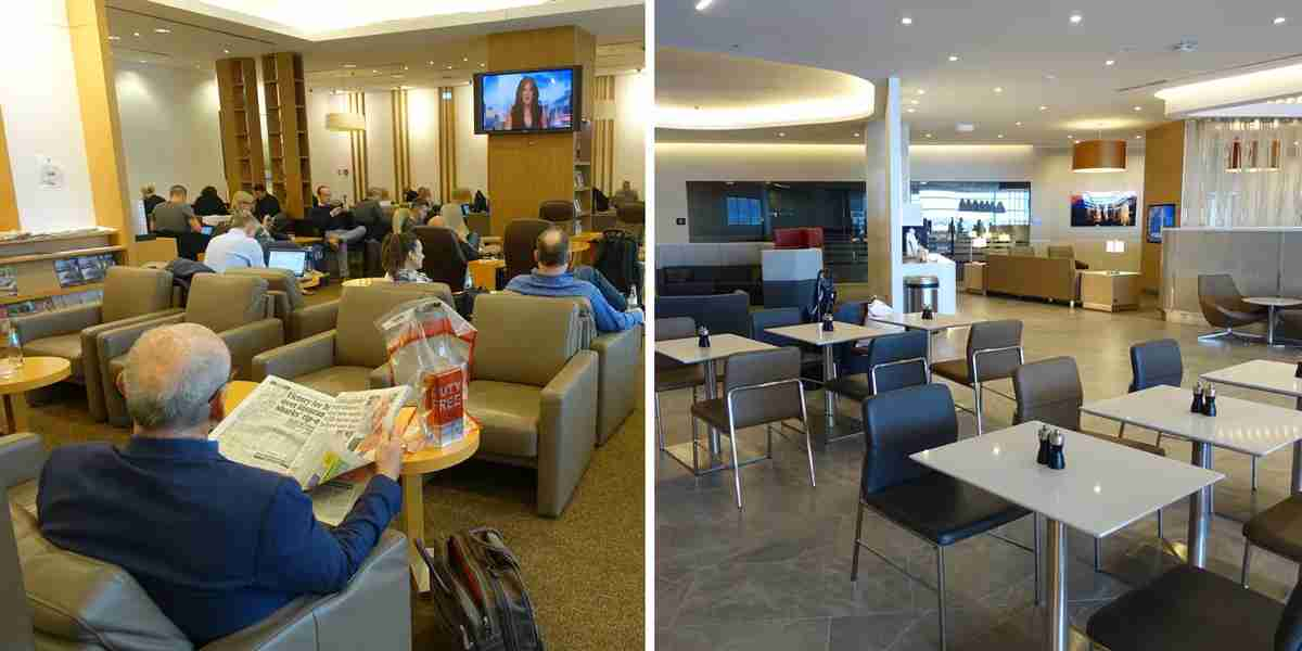 The JAL lounge in Frankfurt (left) was fine but not close to comparable to AA