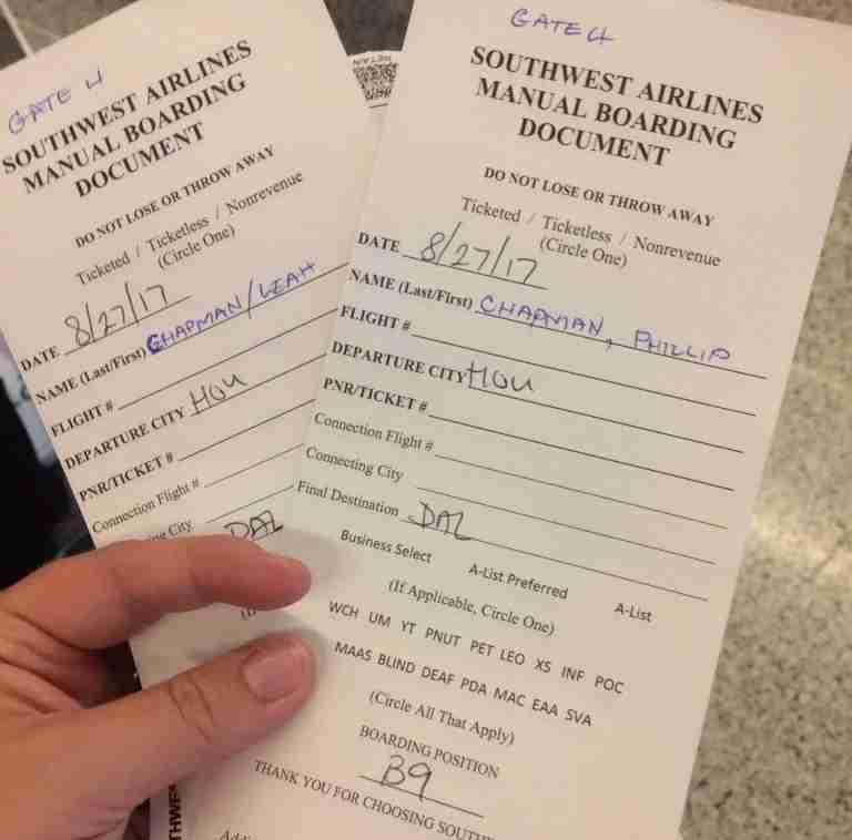 Leah Chapman manual Southwest boarding pass HOU airlift flight