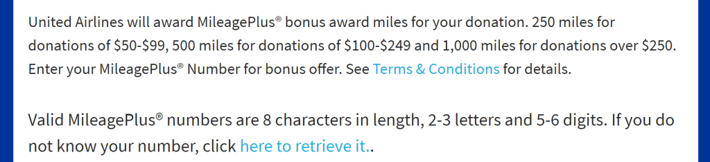 United donation terms