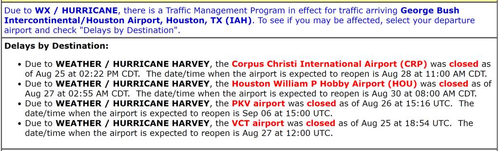 hurricane harvey houston airport