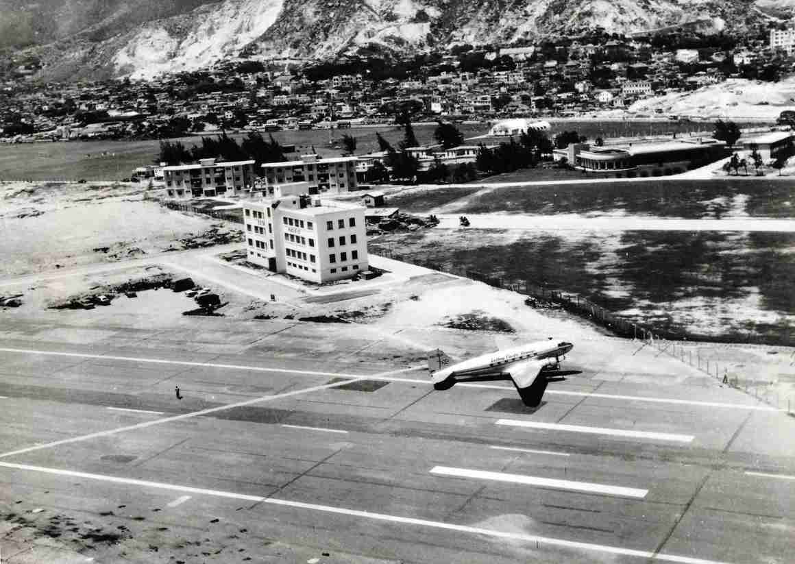 Cathay Pacific Airways Douglas DC-3 at Kai Tak Airport in 1959. (Image courtesy of Cathay Pacific Airways Limited, Swire HK Archive Service)