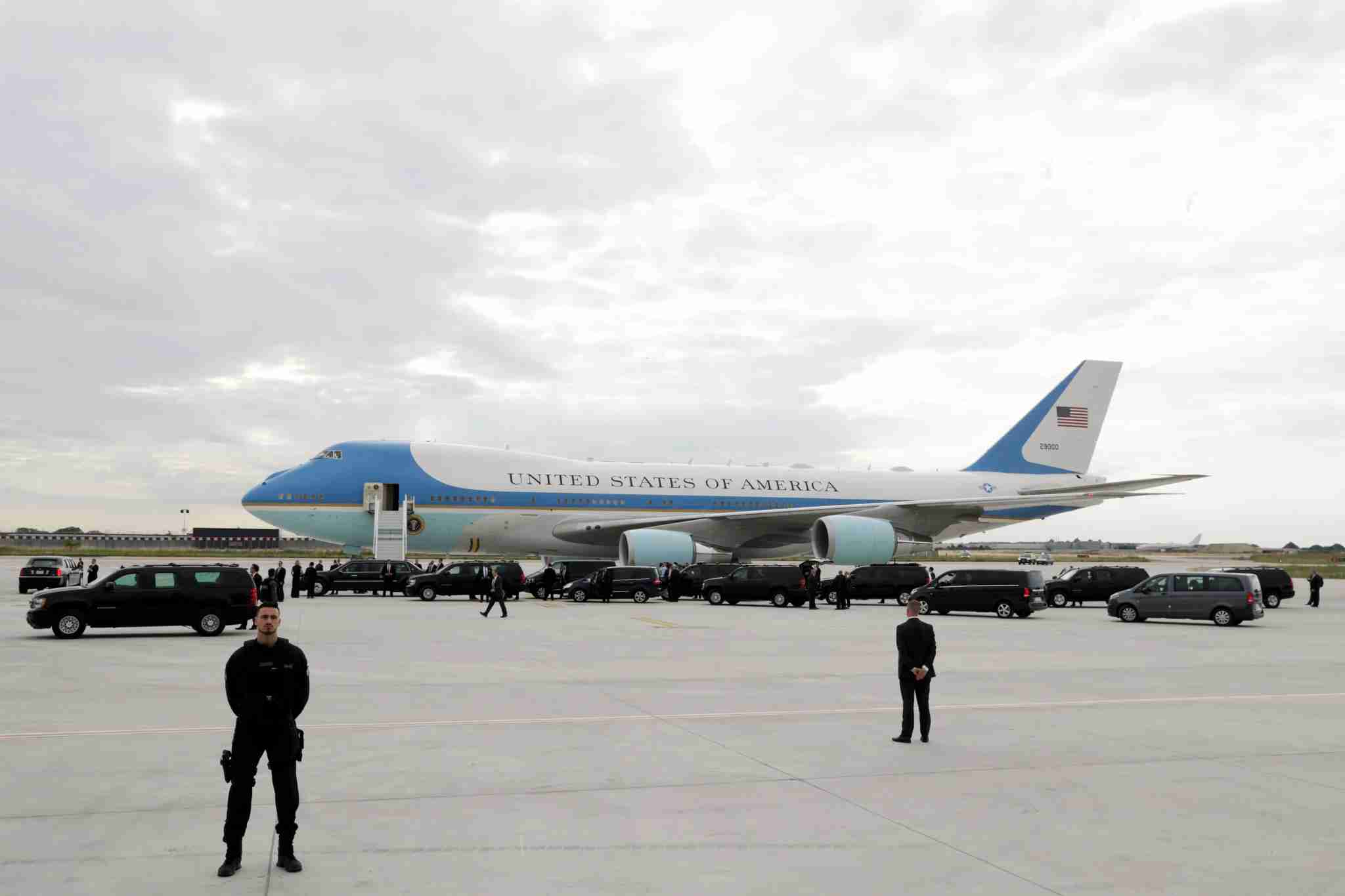 Air Force One after it landed on July 13, 2017 at Paris