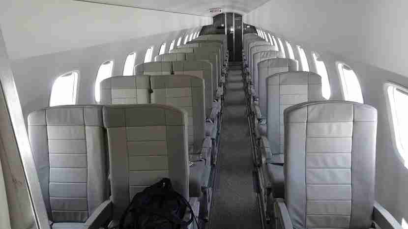 Seating in a JetSuiteX Embraer 135 is tighter than most private jets but features more room than on US airlines